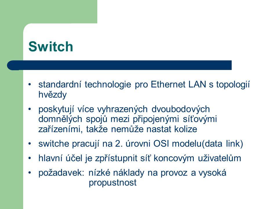 Switch standardní technologie pro Ethernet LAN s topologií hvězdy