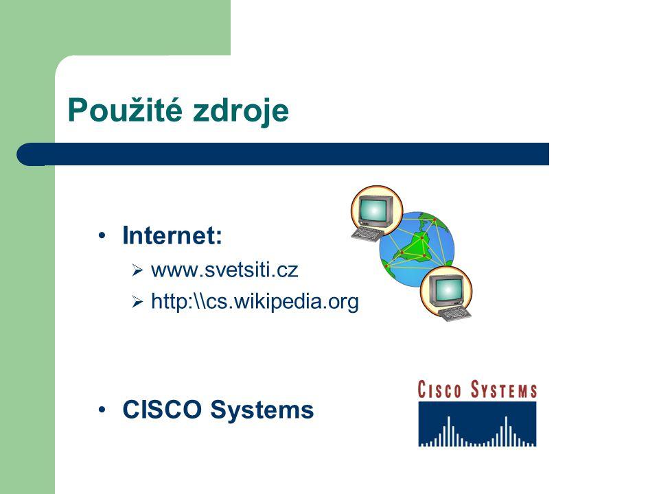 Použité zdroje Internet: CISCO Systems www.svetsiti.cz