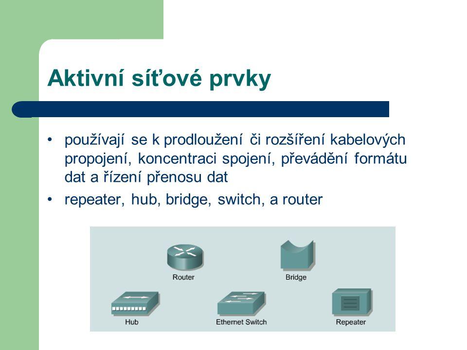Aktivní síťové prvky používají se k prodloužení či rozšíření kabelových propojení, koncentraci spojení, převádění formátu dat a řízení přenosu dat.