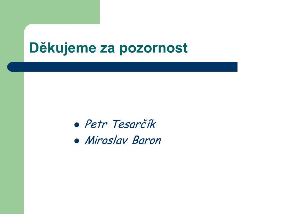 Děkujeme za pozornost Petr Tesarčík Miroslav Baron