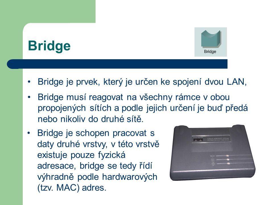 Bridge Bridge je prvek, který je určen ke spojení dvou LAN,