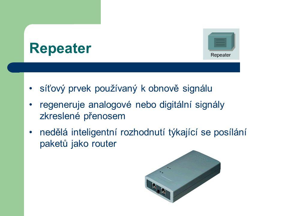 Repeater síťový prvek používaný k obnově signálu