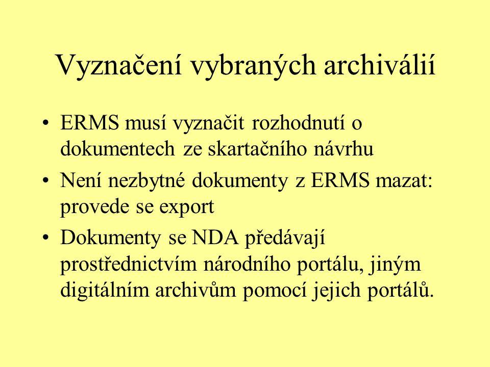 Vyznačení vybraných archiválií