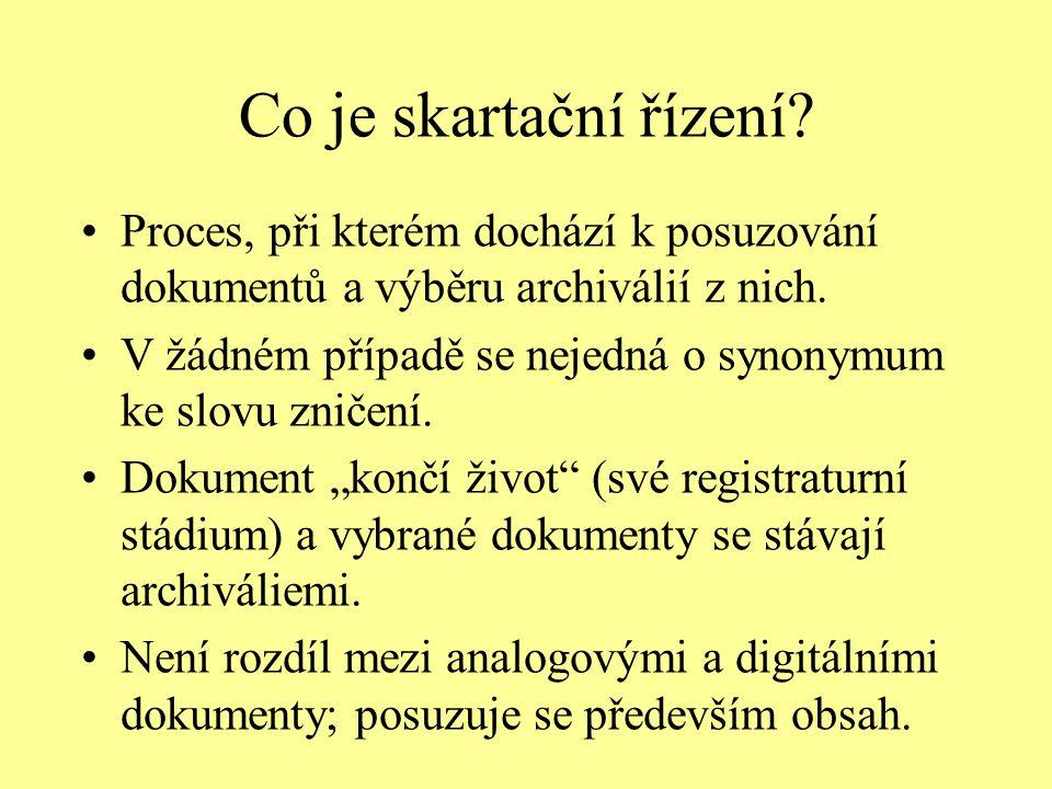 Co je skartační řízení Proces, při kterém dochází k posuzování dokumentů a výběru archiválií z nich.