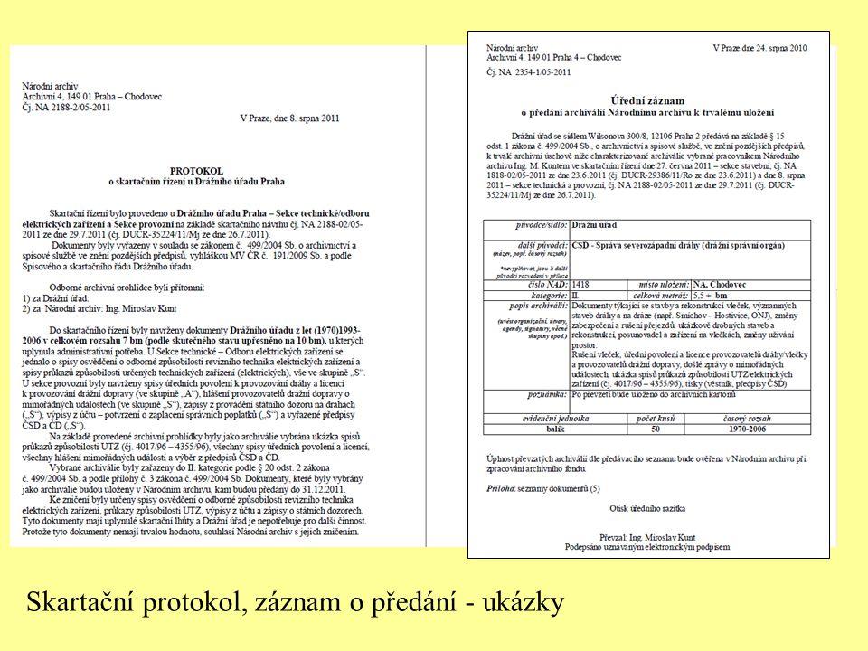 Skartační protokol, záznam o předání - ukázky