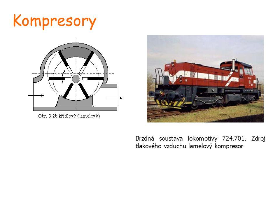 Kompresory Brzdná soustava lokomotivy 724.701. Zdroj tlakového vzduchu lamelový kompresor