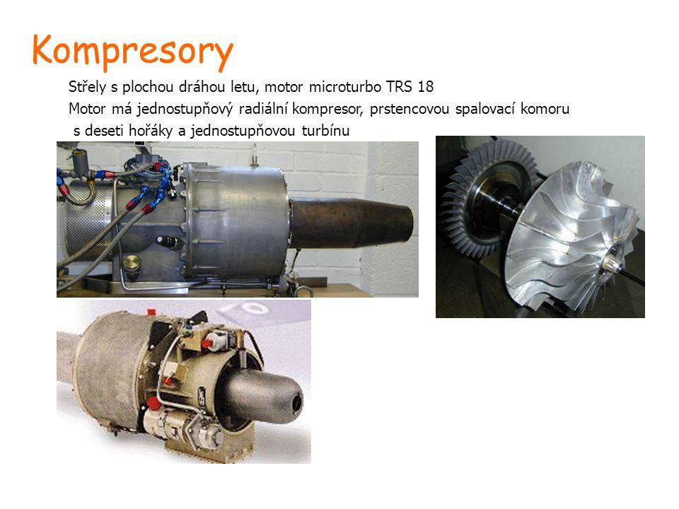 Kompresory Střely s plochou dráhou letu, motor microturbo TRS 18