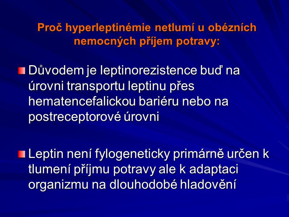 Proč hyperleptinémie netlumí u obézních nemocných příjem potravy: