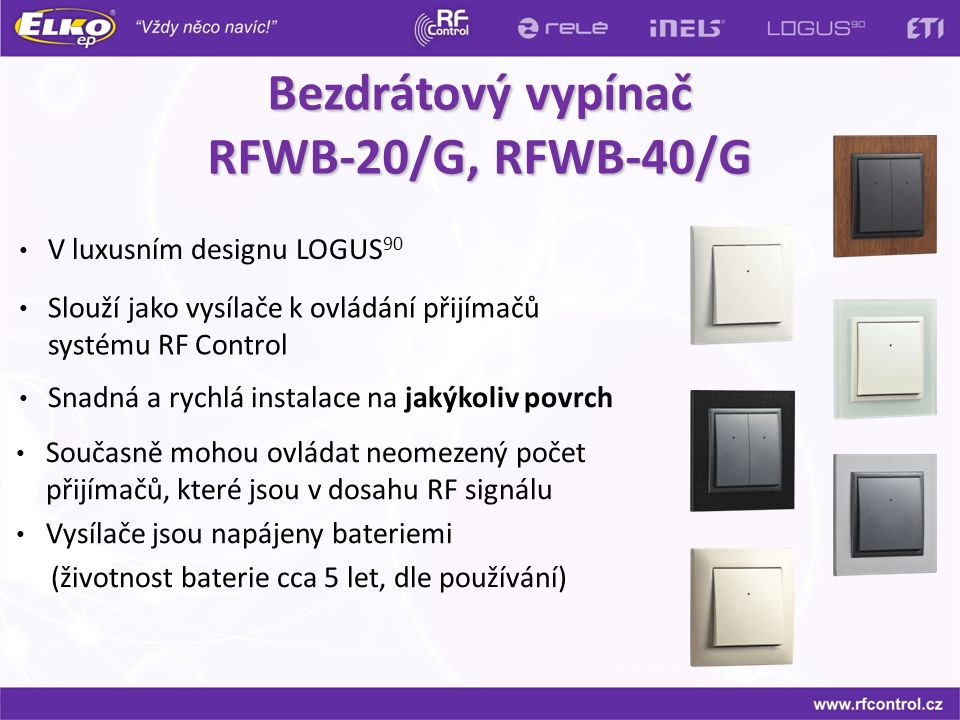 Bezdrátový vypínač RFWB-20/G, RFWB-40/G