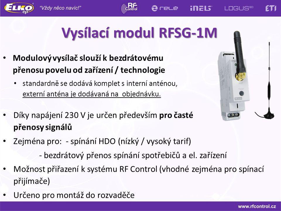 Vysílací modul RFSG-1M Modulový vysílač slouží k bezdrátovému přenosu povelu od zařízení / technologie.