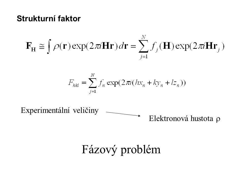 Fázový problém Strukturní faktor Experimentální veličiny