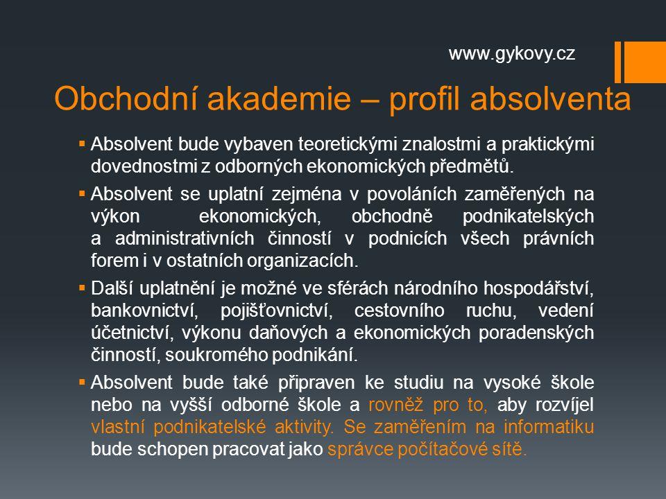 Obchodní akademie – profil absolventa
