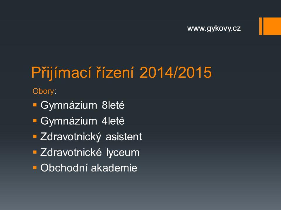 Přijímací řízení 2014/2015 Gymnázium 8leté Gymnázium 4leté