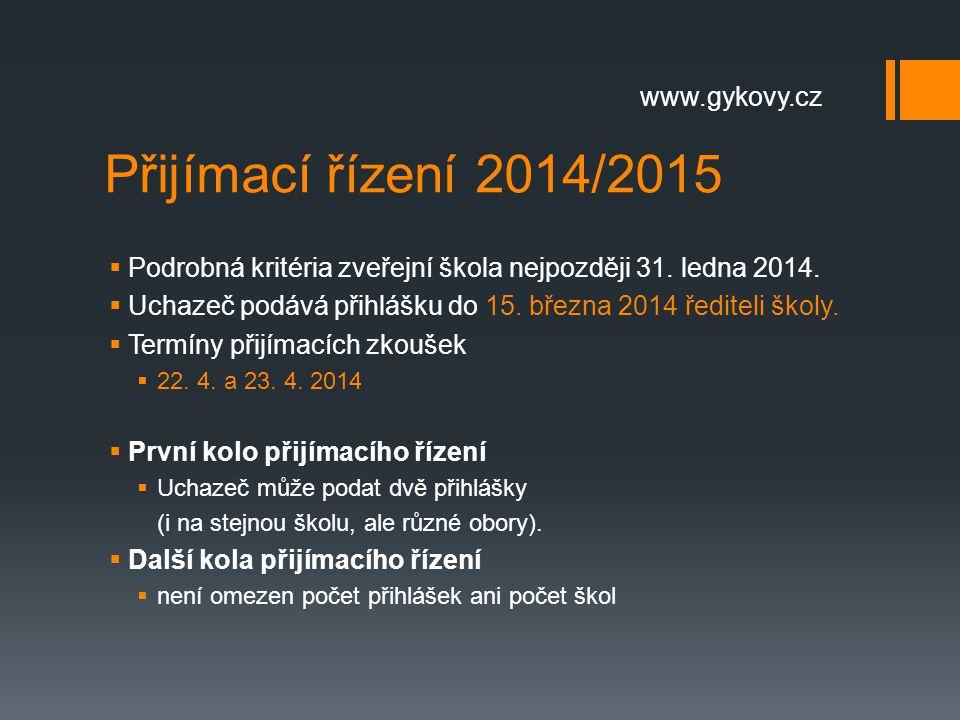 Přijímací řízení 2014/2015 www.gykovy.cz