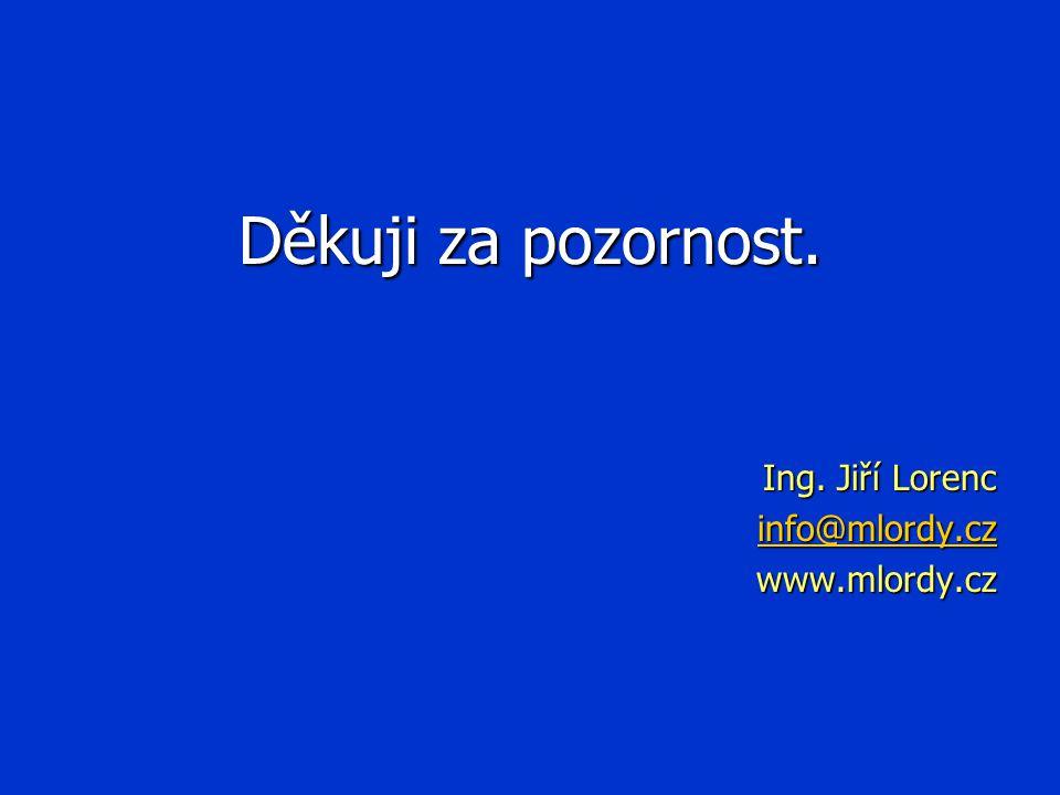 Děkuji za pozornost. Ing. Jiří Lorenc info@mlordy.cz www.mlordy.cz