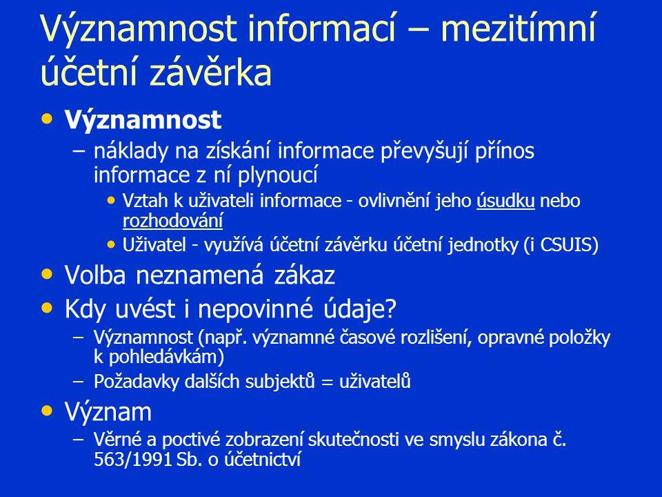 Významnost informací – mezitímní účetní závěrka
