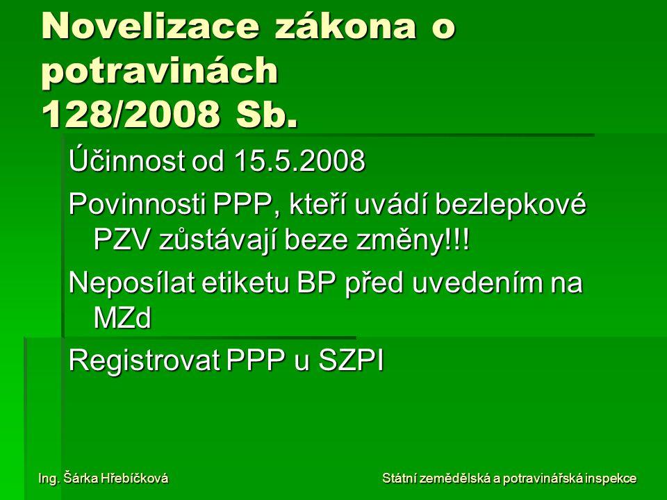 Novelizace zákona o potravinách 128/2008 Sb.