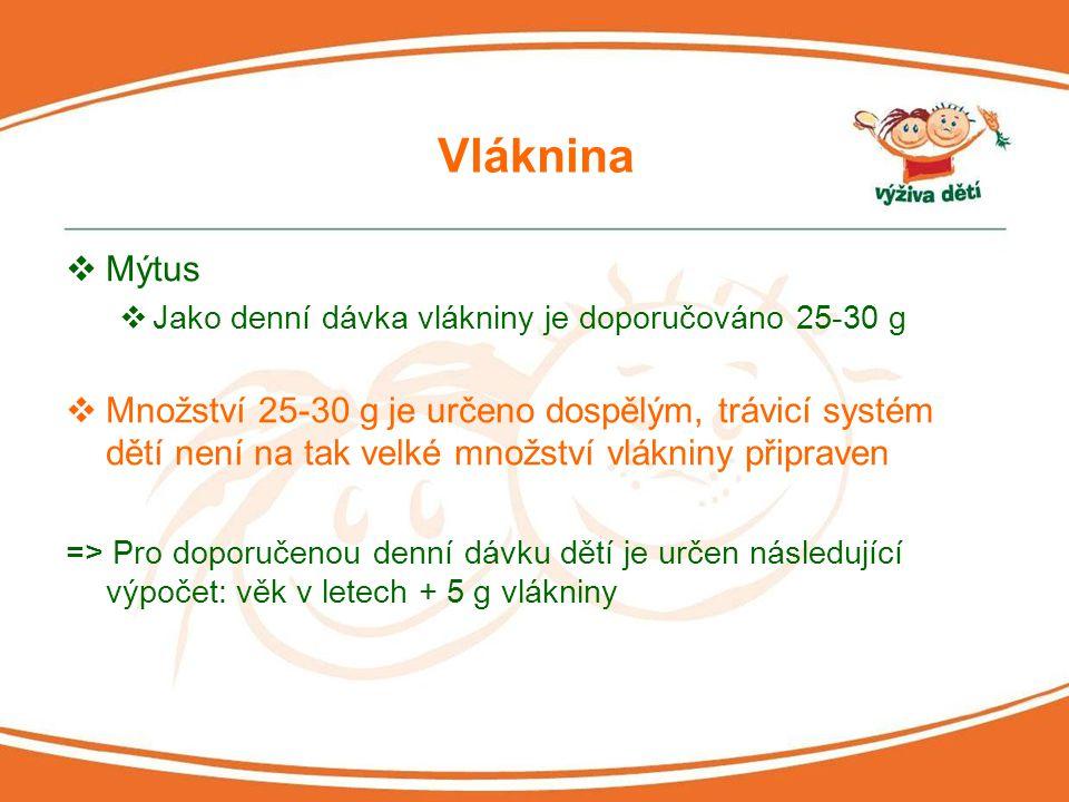 Vláknina Mýtus. Jako denní dávka vlákniny je doporučováno 25-30 g.
