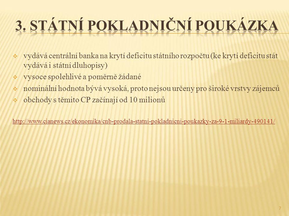 3. Státní pokladniční poukázka