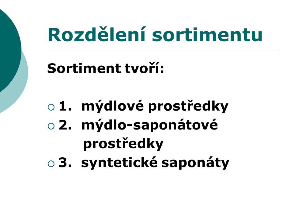 Rozdělení sortimentu Sortiment tvoří: 1. mýdlové prostředky