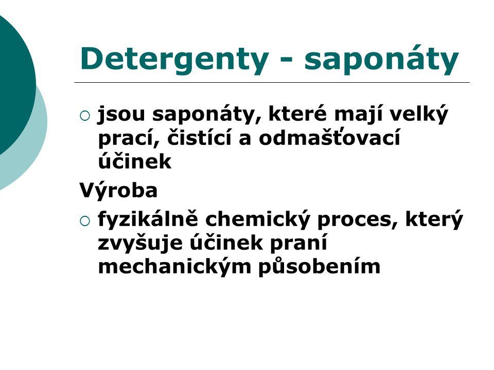 Detergenty - saponáty jsou saponáty, které mají velký prací, čistící a odmašťovací účinek. Výroba.
