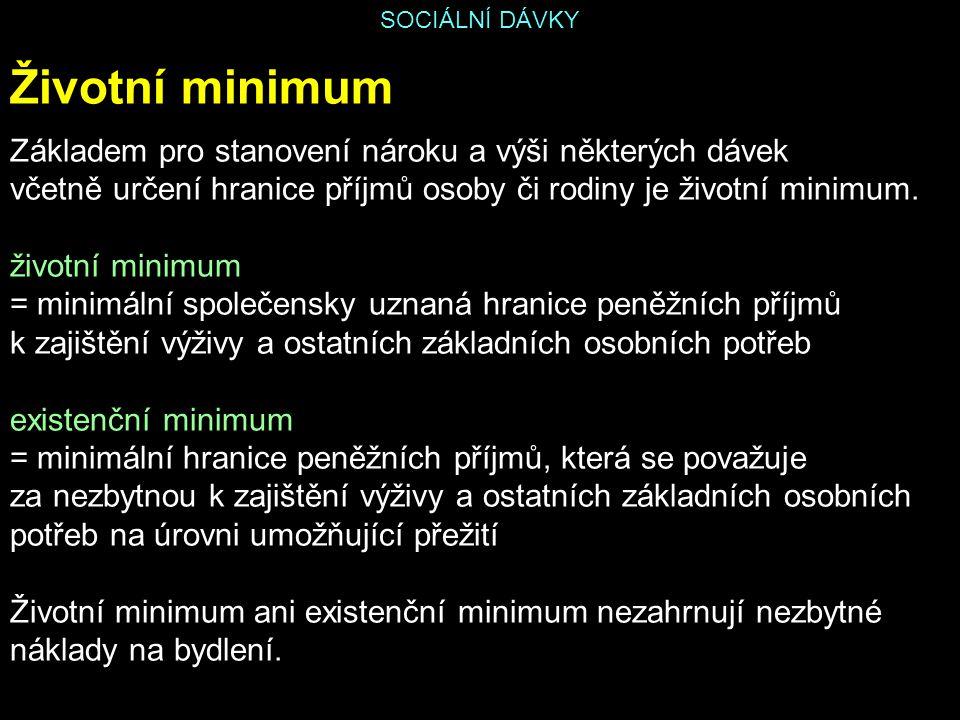 Životní minimum Základem pro stanovení nároku a výši některých dávek