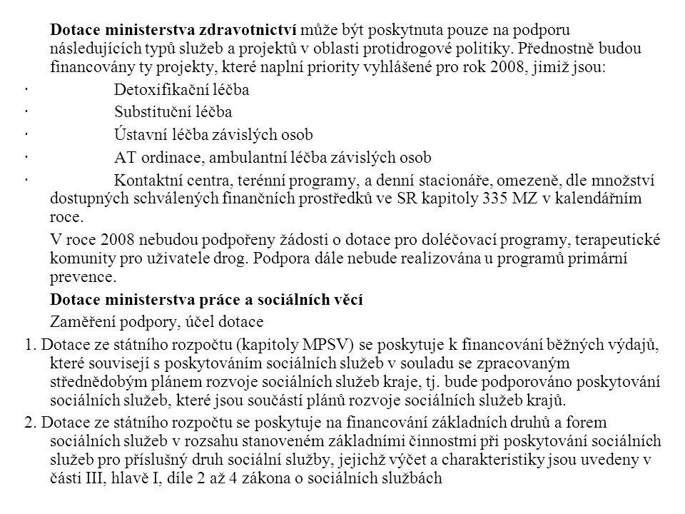 Dotace ministerstva zdravotnictví může být poskytnuta pouze na podporu následujících typů služeb a projektů v oblasti protidrogové politiky. Přednostně budou financovány ty projekty, které naplní priority vyhlášené pro rok 2008, jimiž jsou: