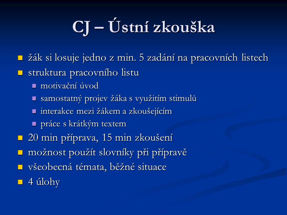 CJ – Ústní zkouška žák si losuje jedno z min. 5 zadání na pracovních listech. struktura pracovního listu.
