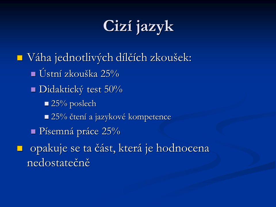 Cizí jazyk Váha jednotlivých dílčích zkoušek: