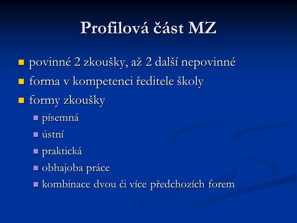 Profilová část MZ povinné 2 zkoušky, až 2 další nepovinné