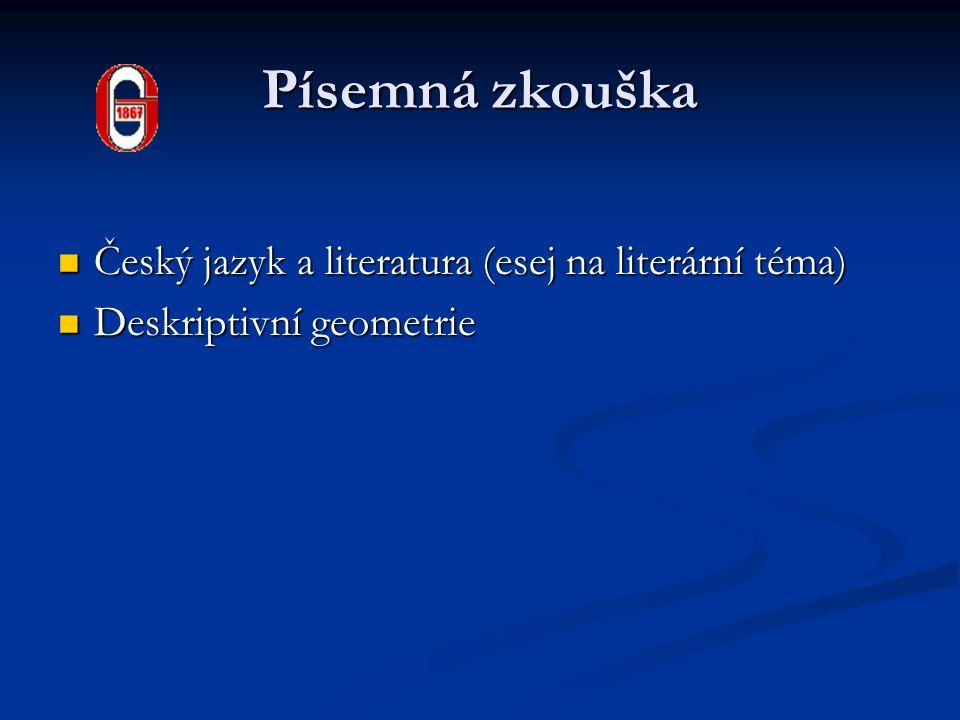Písemná zkouška Český jazyk a literatura (esej na literární téma)