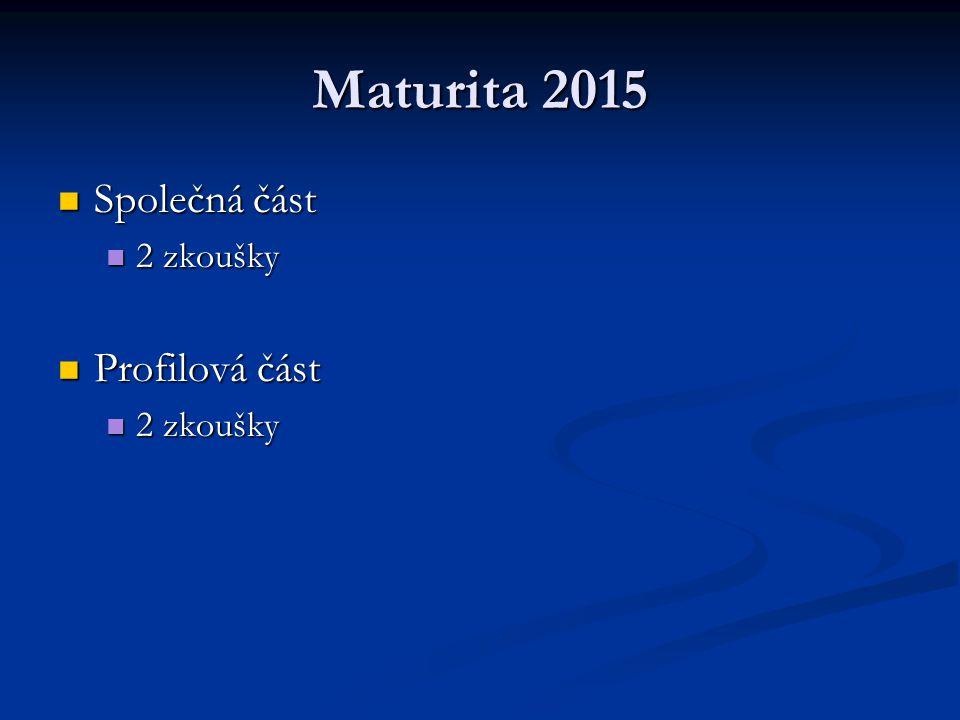 Maturita 2015 Společná část 2 zkoušky Profilová část