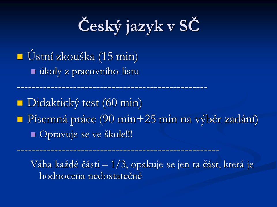 Český jazyk v SČ Ústní zkouška (15 min)