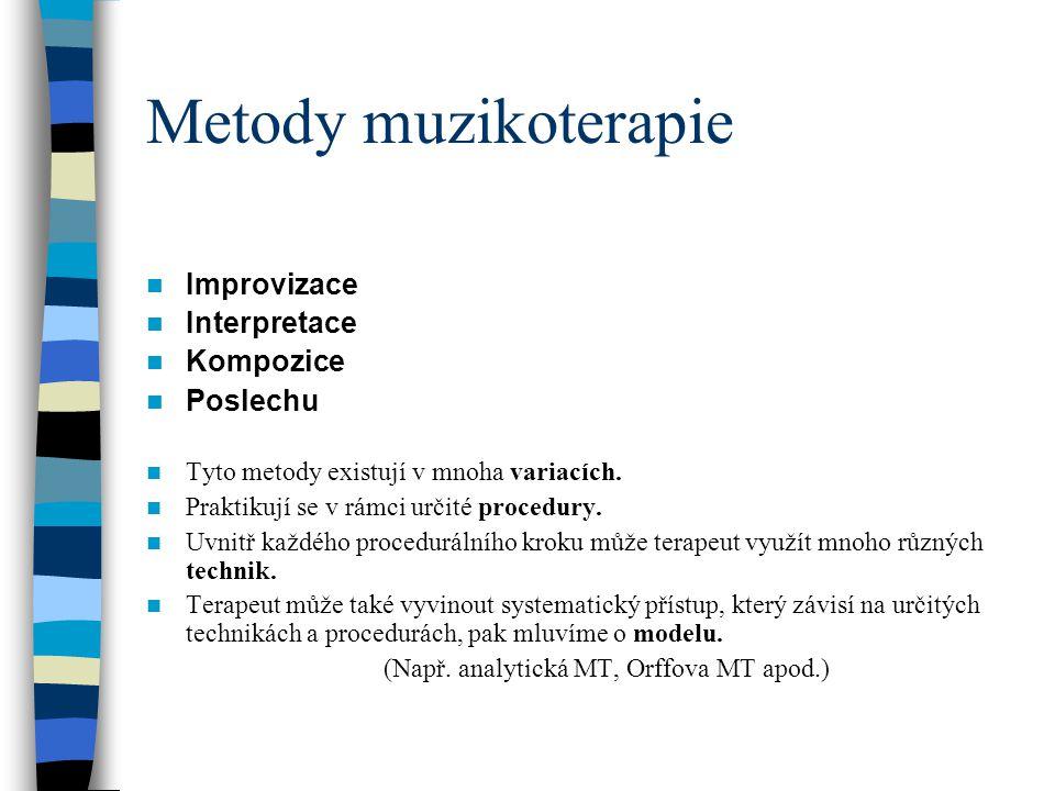 Metody muzikoterapie Improvizace Interpretace Kompozice Poslechu