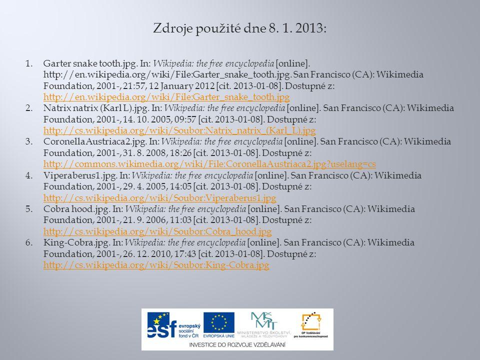 Zdroje použité dne 8. 1. 2013: