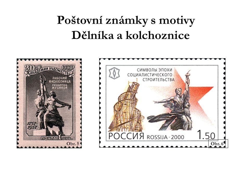 Poštovní známky s motivy Dělníka a kolchoznice