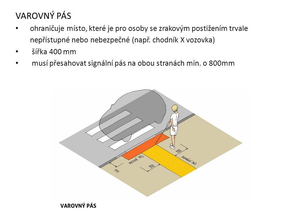 VAROVNÝ PÁS ohraničuje místo, které je pro osoby se zrakovým postižením trvale. nepřístupné nebo nebezpečné (např. chodník X vozovka)