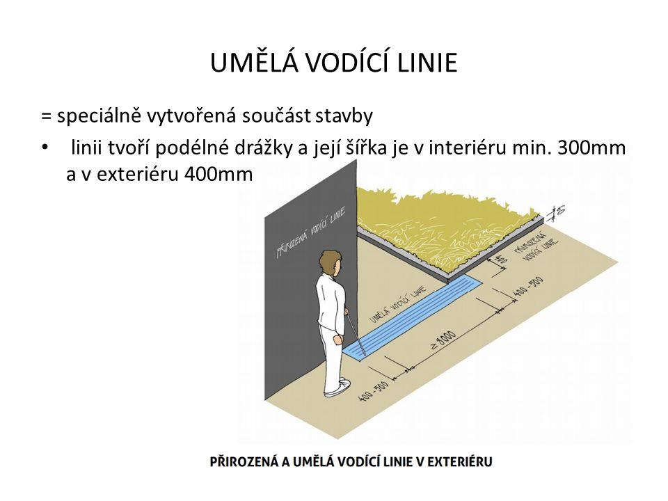 UMĚLÁ VODÍCÍ LINIE = speciálně vytvořená součást stavby