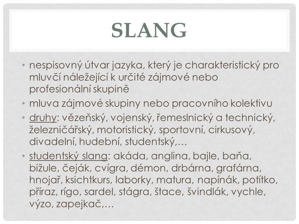 SLANG nespisovný útvar jazyka, který je charakteristický pro mluvčí náležející k určité zájmové nebo profesionální skupině.