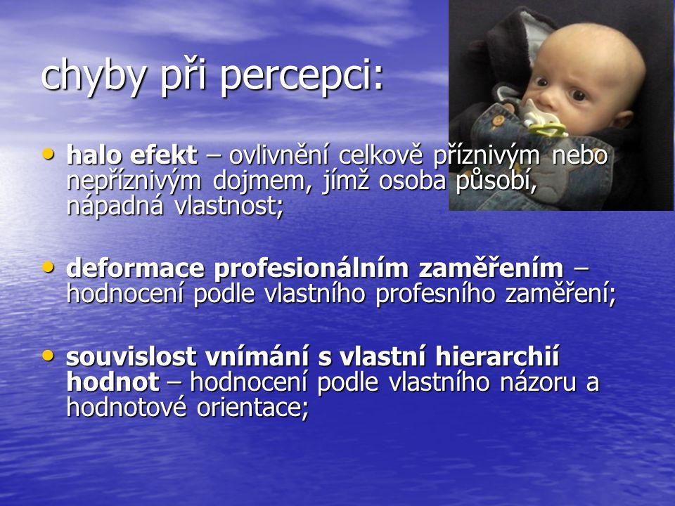 chyby při percepci: halo efekt – ovlivnění celkově příznivým nebo nepříznivým dojmem, jímž osoba působí, nápadná vlastnost;