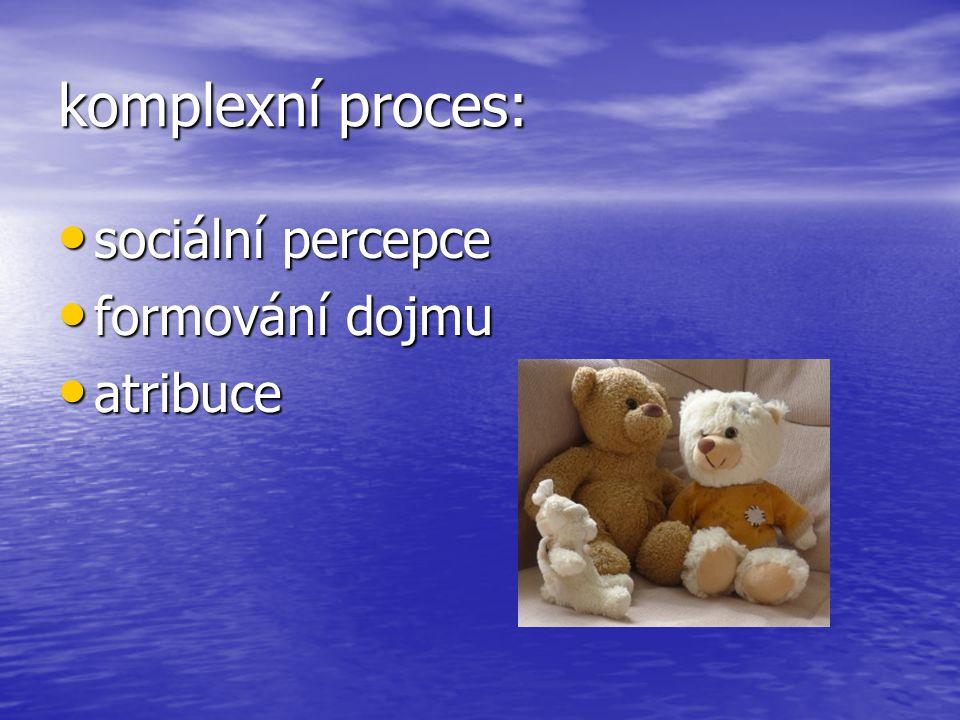 komplexní proces: sociální percepce formování dojmu atribuce