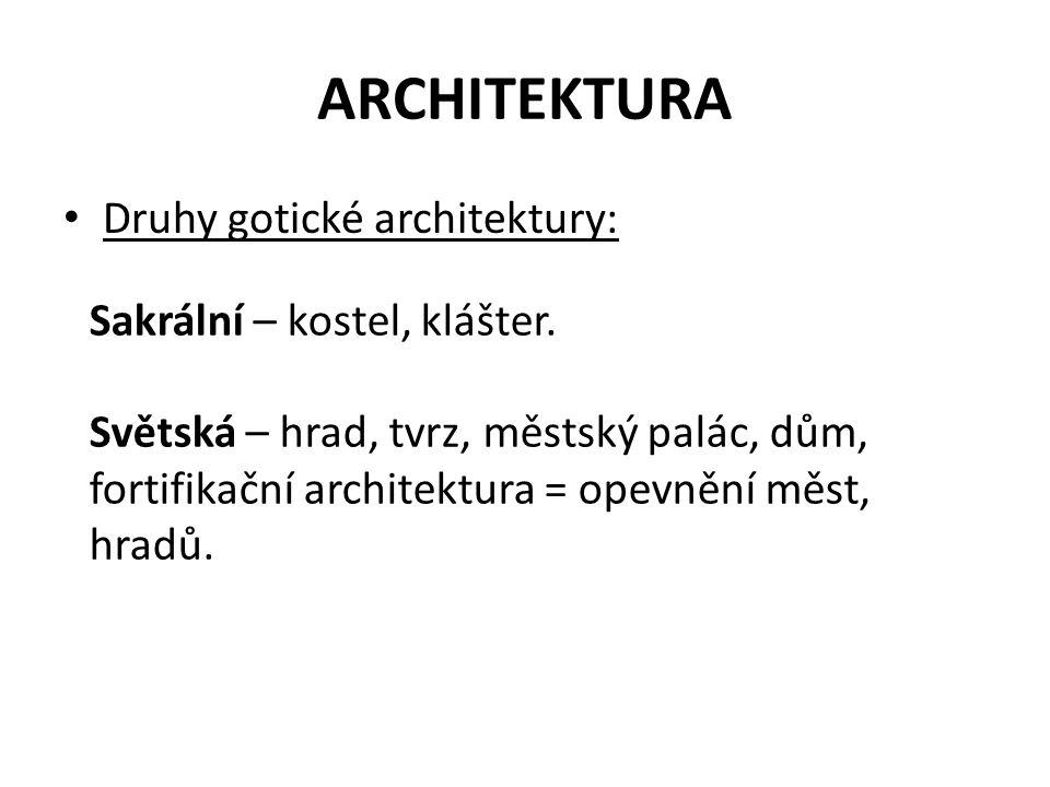 ARCHITEKTURA Druhy gotické architektury: Sakrální – kostel, klášter.