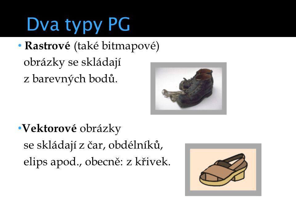 Dva typy PG Rastrové (také bitmapové) obrázky se skládají