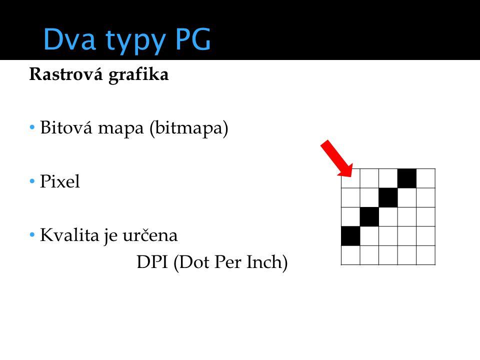 Dva typy PG Rastrová grafika Bitová mapa (bitmapa) Pixel