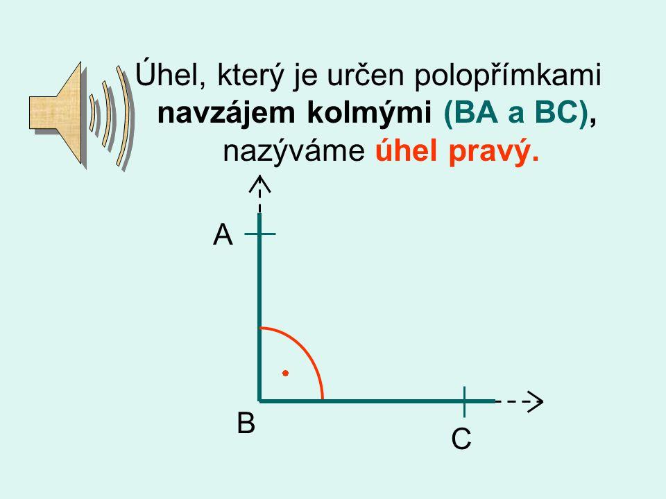 Úhel, který je určen polopřímkami navzájem kolmými (BA a BC), nazýváme úhel pravý.