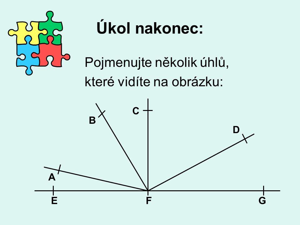 Úkol nakonec: Pojmenujte několik úhlů, které vidíte na obrázku: C B D