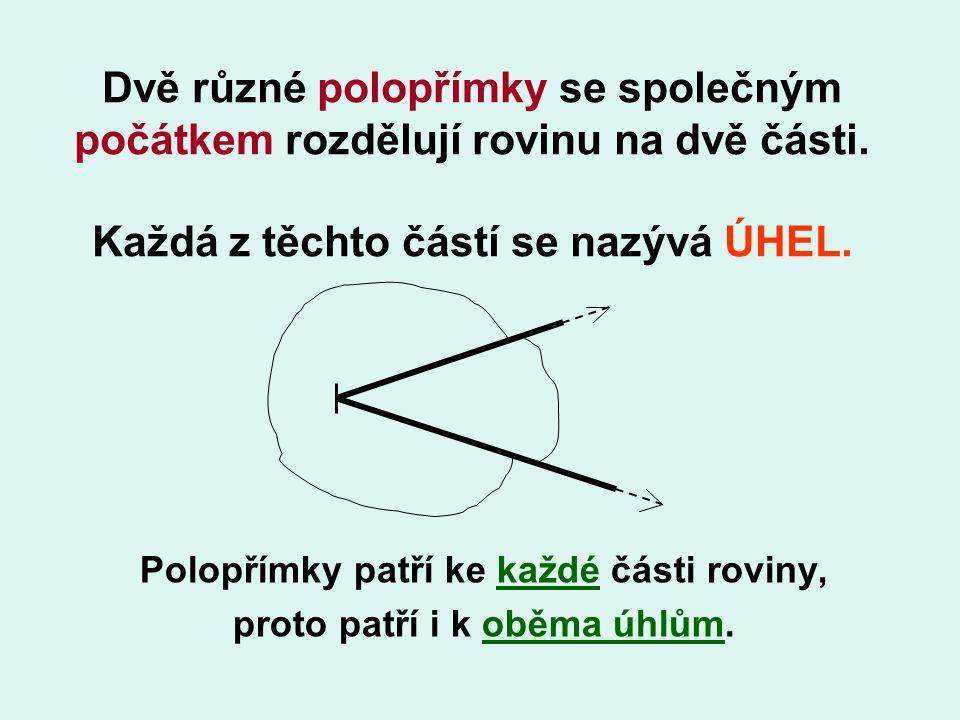 Polopřímky patří ke každé části roviny, proto patří i k oběma úhlům.