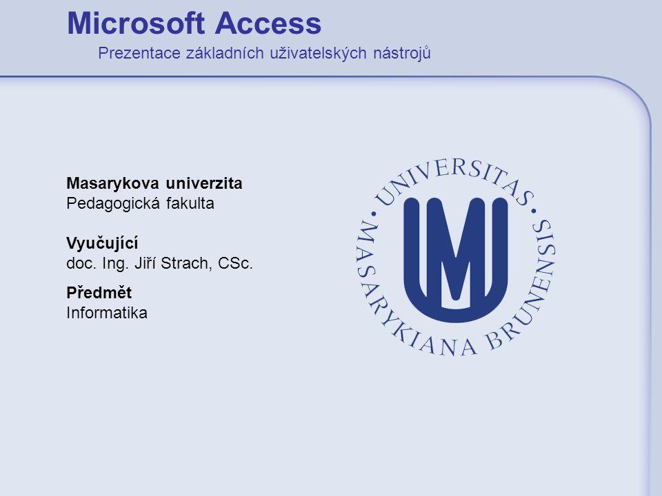 Microsoft Access Prezentace základních uživatelských nástrojů