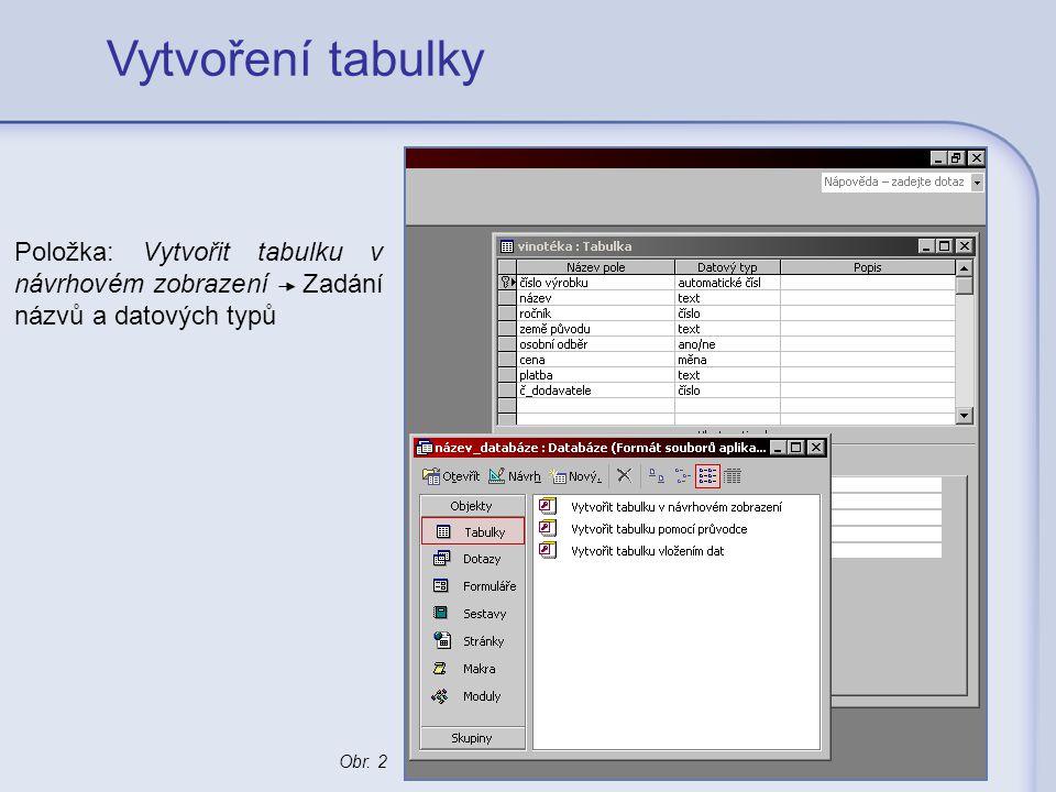 Vytvoření tabulky Položka: Vytvořit tabulku v návrhovém zobrazení Zadání názvů a datových typů.