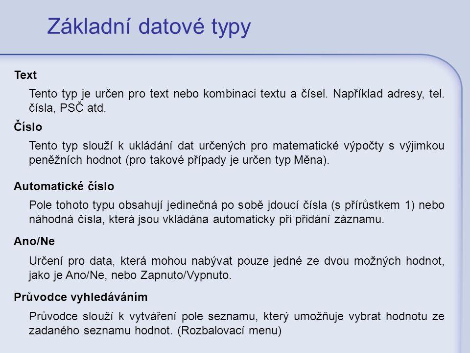 Základní datové typy Text